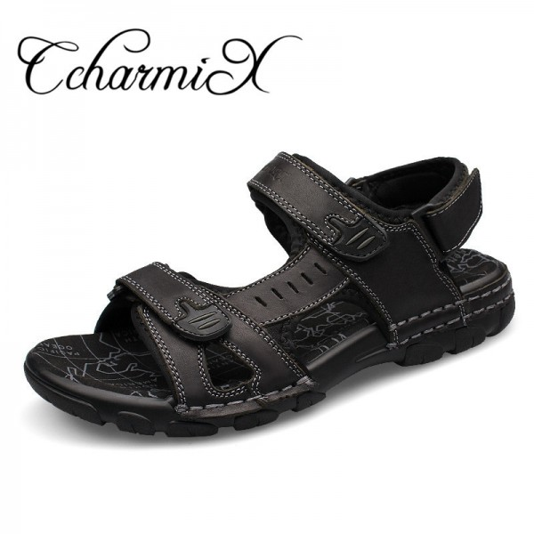 Genuine Leather Men Sandals New Summer Walking Sandals for Man Fashion Brand Outdoor Male Casual Shoes Extra Image 1