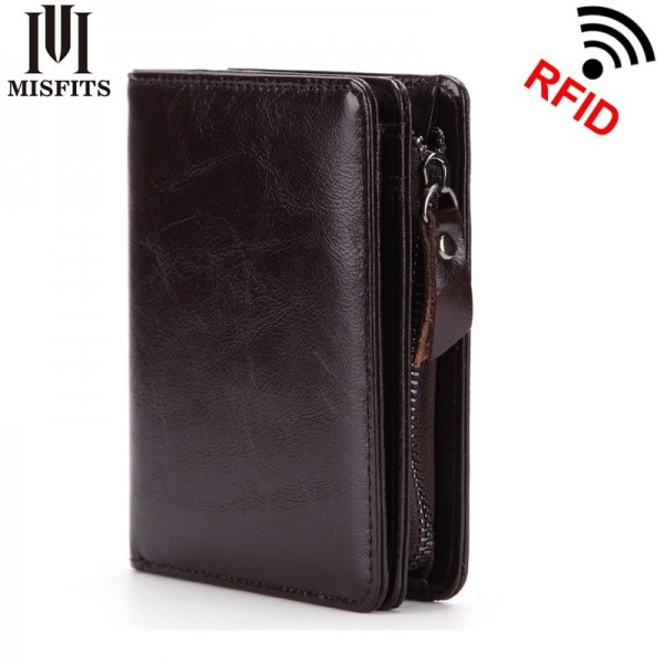 Genuine leather men wallet top quality Oil wax leather wallet cowhide real leather man purse male zipper wallet Extra Image 1