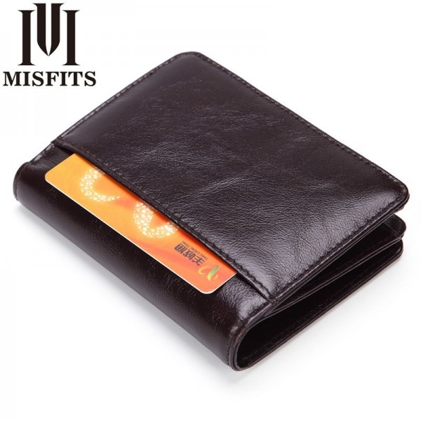 Genuine leather men wallet top quality Oil wax leather wallet cowhide real leather man purse male zipper wallet Extra Image 2