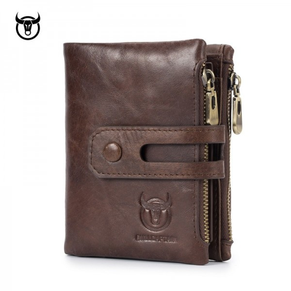 Genuine Leather Mens Wallet Crazy Cowhide Man Zipper Coin Purse Male Credit Card Holder Multi Function Wallet Extra Image 1