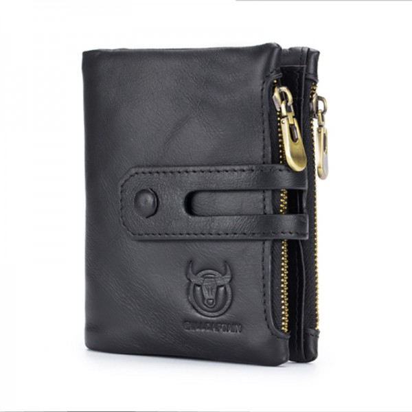 Genuine Leather Mens Wallet Crazy Cowhide Man Zipper Coin Purse Male Credit Card Holder Multi Function Wallet