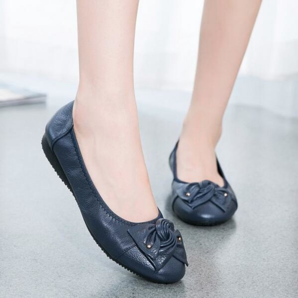 f842786d9a9f Buy Genuine Leather shoes woman spring solid bowtie flat shoes fashion women  flats ballet women shoes slip on loafers