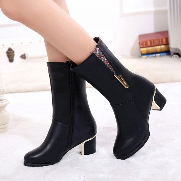 Genuine Leather Shoes Women combat Boots Thick High Heel Martin Boots Zipper Ladies Work Shoes Motorcycle Boots