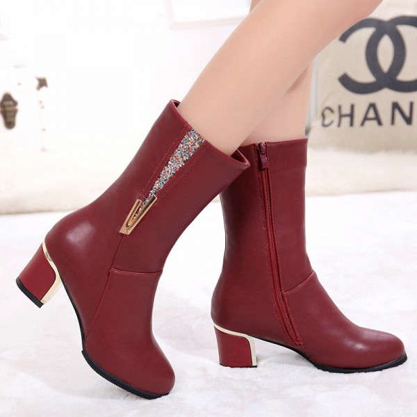 Genuine Leather Shoes Women combat Boots Thick High Heel Martin Boots Zipper Ladies Work Shoes Motorcycle Boots Extra Image 2