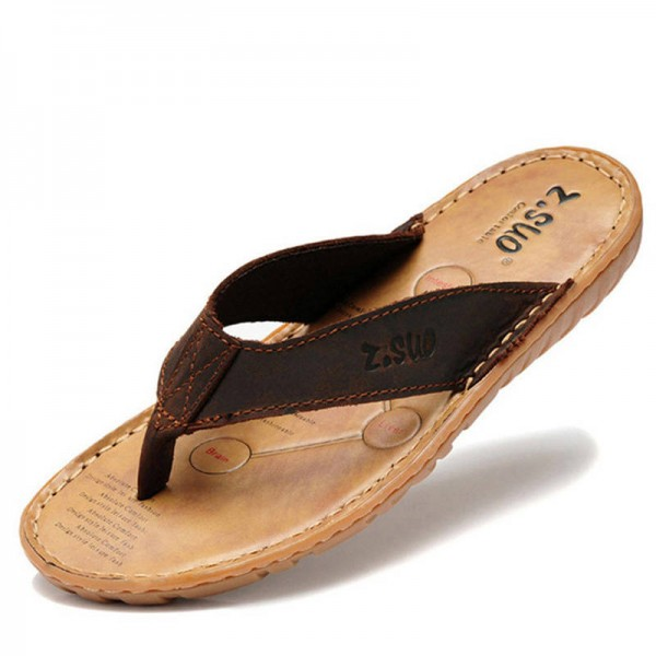 Genuine Leather Summer Slippers Flip Flops Beach Sandals Casual Shoes For Men Thumbnail