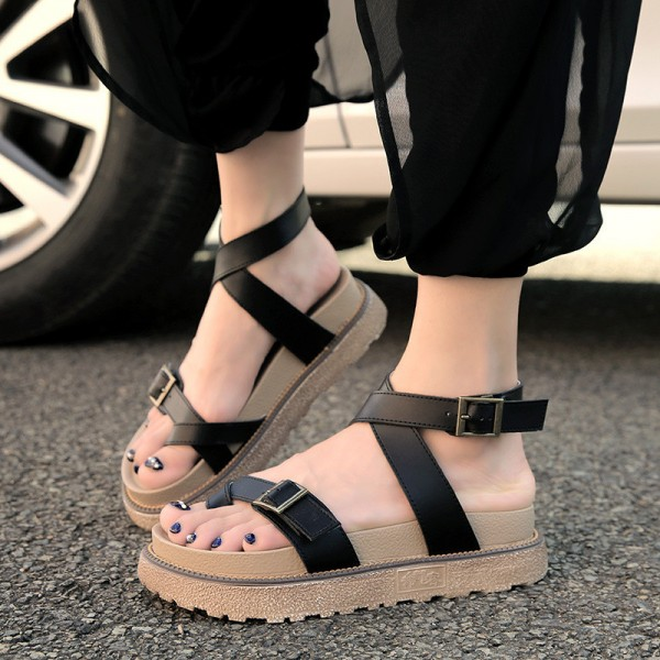 Gladiator Sandals 2018 New Summer Flip Flops Platform Flats Shoes Woman Casual Creepers Vintage Women Shoes Extra Image 3