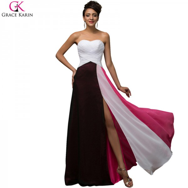 Grace Karin A Line Splice Chiffon Strapless Split Elegant Formal Gowns Fashion Evening Wedding Female Party Dress