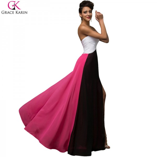 Grace Karin A Line Splice Chiffon Strapless Split Elegant Formal Gowns Fashion Evening Wedding Female Party Dress Extra Image 3
