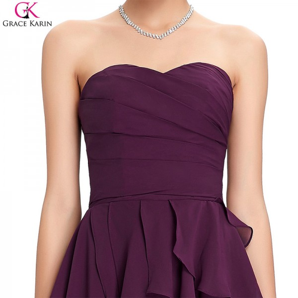 Grace Karin Cocktail Dress Simple Strapless Chiffon Short Purple Formal Gowns Wedding Party Dress Occasion Dresses Extra Image 5