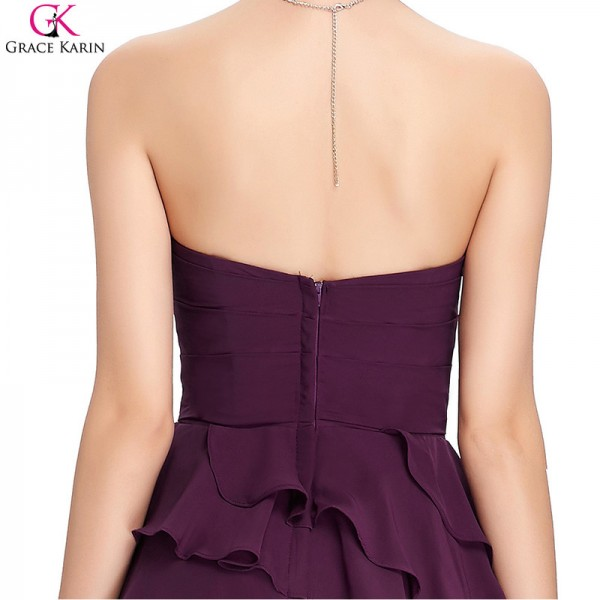 Grace Karin Cocktail Dress Simple Strapless Chiffon Short Purple Formal Gowns Wedding Party Dress Occasion Dresses Extra Image 6