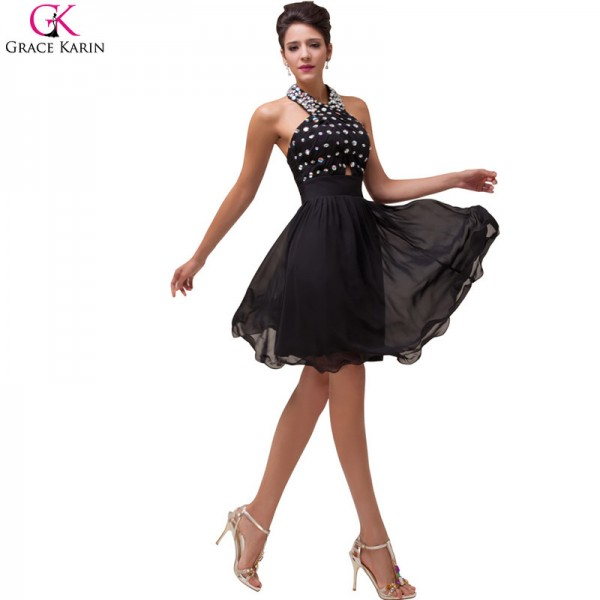 Grace Karin Evening Dresses Halter Backless Beading Chiffon Black Formal Dress Elegant Dinner Party Women Dresses Extra Image 3
