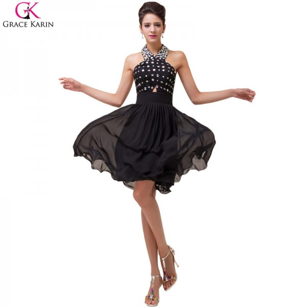 Grace Karin Evening Dresses Halter Backless Beading Chiffon Black Formal Dress Elegant Dinner Party Women Dresses Extra Image 6