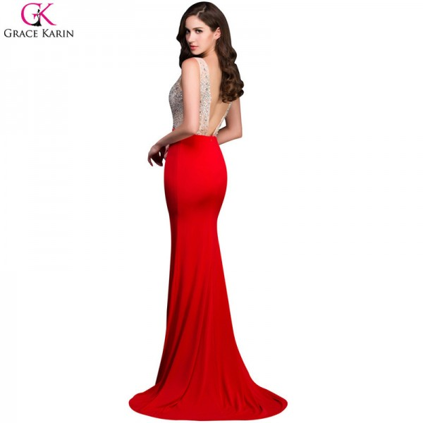 Grace Karin Mermaid Prom Dresses Beaded Sequin Backless Sleeveless ...