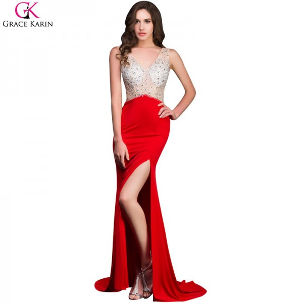 0b34b05f288cd ... Grace Karin Mermaid Prom Dresses Beaded Sequin Backless Sleeveless High  Slit V Neck Red Formal Gowns ...