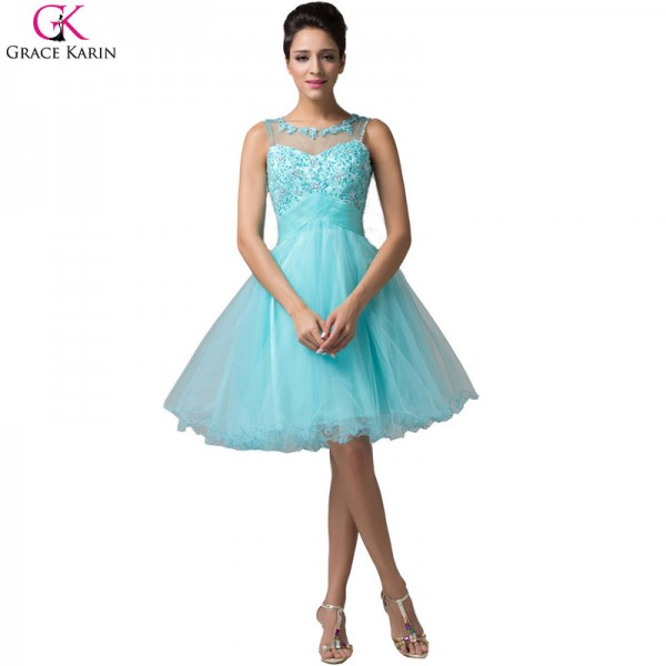 Grace Karin Short Evening Dress Robe De Soiree Courte Tulle Sleeveless Formal Ball Gowns Tutu Pretty Elegant Dress