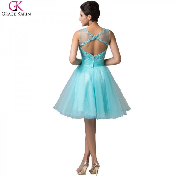 Grace Karin Short Evening Dress Robe De Soiree Courte Tulle Sleeveless Formal Ball Gowns Tutu Pretty Elegant Dress Extra Image 2