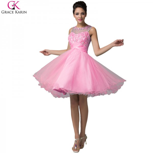 Grace Karin Short Evening Dress Robe De Soiree Courte Tulle Sleeveless Formal Ball Gowns Tutu Pretty Elegant Dress Extra Image 3