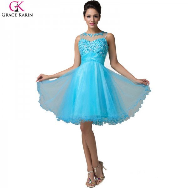 Grace Karin Short Evening Dress Robe De Soiree Courte Tulle Sleeveless Formal Ball Gowns Tutu Pretty Elegant Dress Extra Image 4