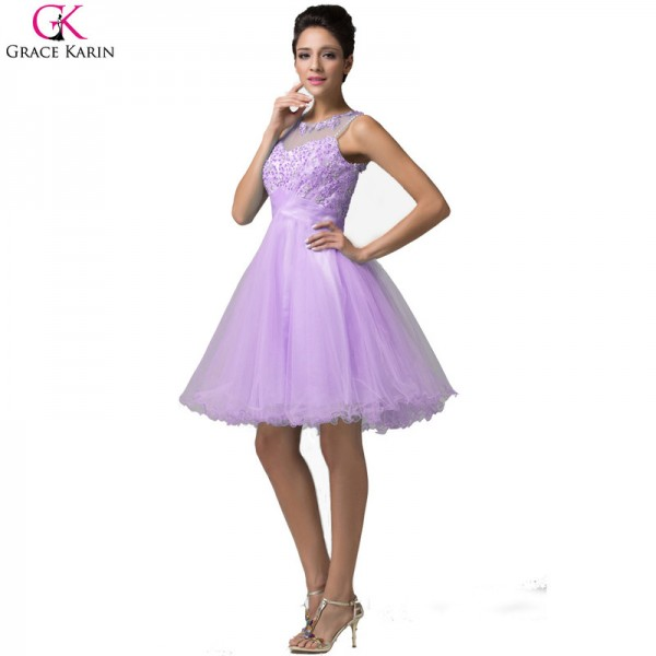 Grace Karin Short Evening Dress Robe De Soiree Courte Tulle Sleeveless Formal Ball Gowns Tutu Pretty Elegant Dress Extra Image 6