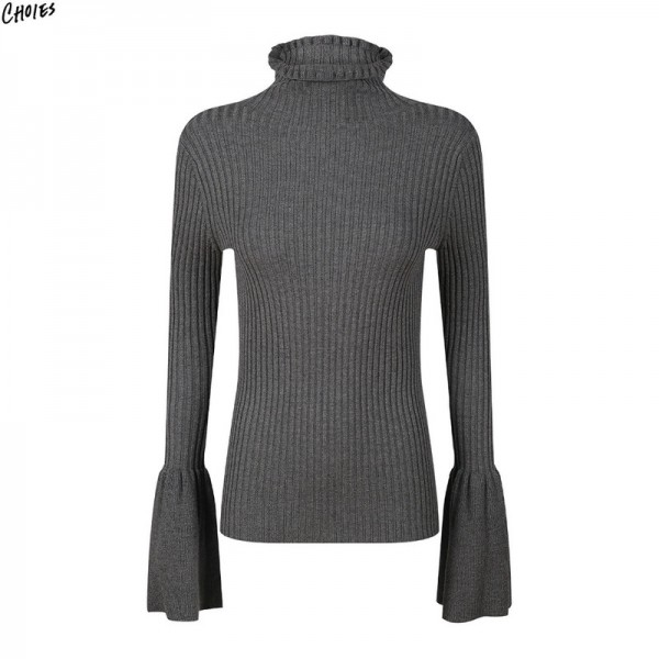 Gray High Neck Jumper Flared Long Sleeve Knitted Sweater Women Autumn Winter Silm Skinny Office Ladies Simple Pullover Extra Image 2