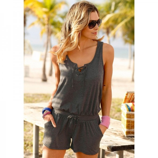 Gray Sleeveless Rompers Jumpsuits Summer Clothing For Women Vintage Jumpsuits Pants Off Shoulder Dress Extra Image 4