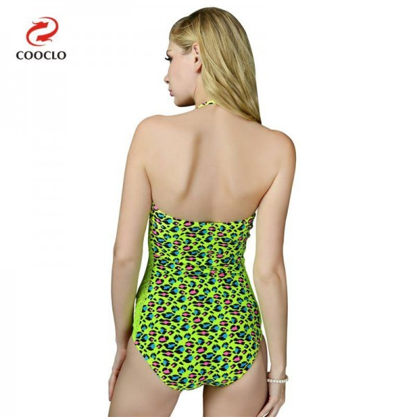 Green Leopard Swimwear For Women One Piece Bikini Backless Vintage Attractive Beachwear For Ladies Extra Image 2