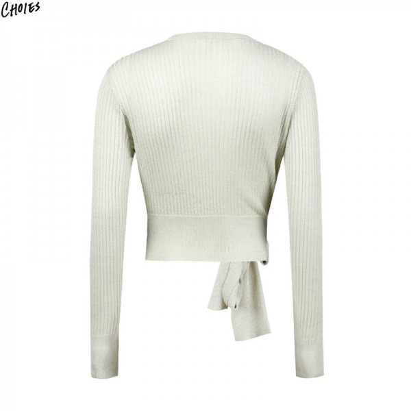 Green V Neck Wrap Front Belt Side Long Sleeve Knitted Sweater Women Autumn Ribbed Trims Casual Fashion Cardigan Extra Image 3