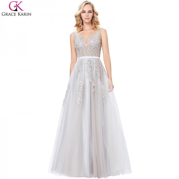 Grey Prom Dresses Long Elegant Formal Gowns V Neck Tulle Lace Applique See Through Navy Blue Wedding Party Dresses Extra Image 3