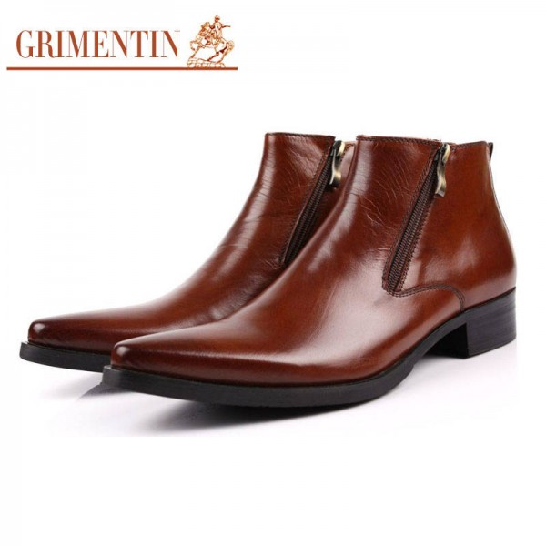 Grimentin Boots Fashion Ankle Shoes Comfortable Zip Pointed Tip Wedding New For Men Extra Images 1