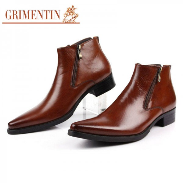 Grimentin Boots Fashion Ankle Shoes Comfortable Zip Pointed Tip Wedding New For Men Extra Images 4