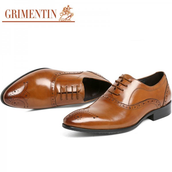 Grimentin Fashion Men Shoes Oxford Genuine Leather Classic Formal Shoes Men Thumbnail