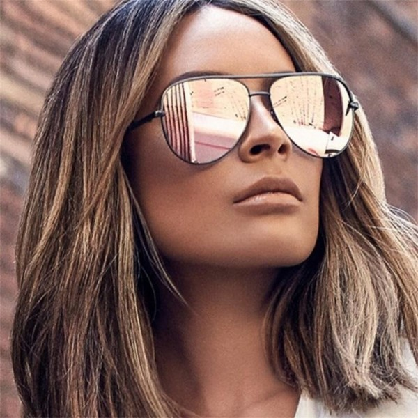 Gun Pink Sunglasses For Women Pilot Aviator Eyeglasses Top Fashion Silver Metal Women Sunglasses For Ladies