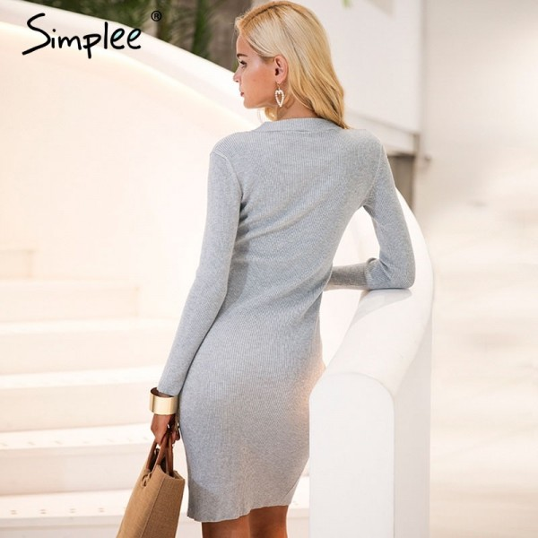 Halter V neck sexy knitting sweater dress women Elastic soft split black autumn winter dress Bodycon long sleeve dress Extra Image 3