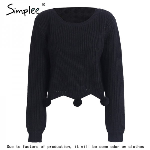 Handmade fur ball casual knitted sweater Women pullover winter streetwear female jumper Autumn knitting pull femme Extra Image 5