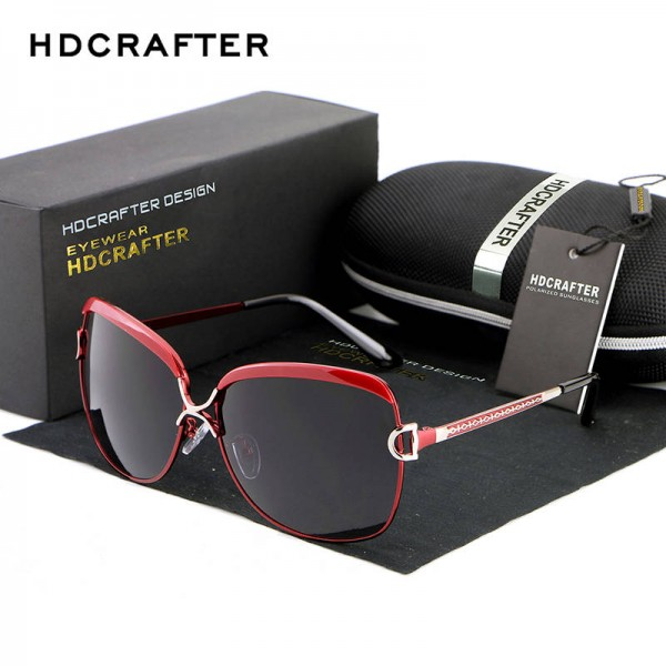 HDCRAFTER Luxury Sunglasses For Women New Design Retro Fashionable Large UV400 Polarized Female Goggles
