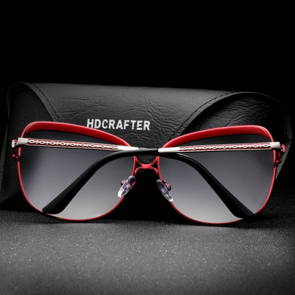 HDCRAFTER Luxury Sunglasses For Women New Design Retro Fashionable Large UV400 Polarized Female Goggles Extra Image 4