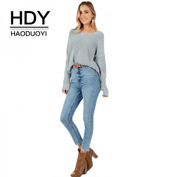 HDY Haoduoyi Apparel Women Sweaters Casual Solid Color Knitted Loose Female Tops Streetwear Brief Ladies Pullover Tops Extra Image 1