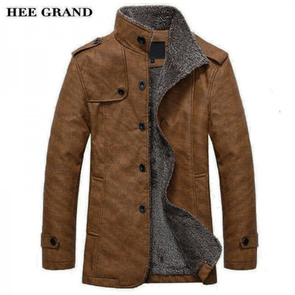 HEE GRAND Men PU  Leather Jackets And Coats New Arrival Winter Thick Casual Jaqueta Masculino Plus Size 2 Colors Extra Image 1