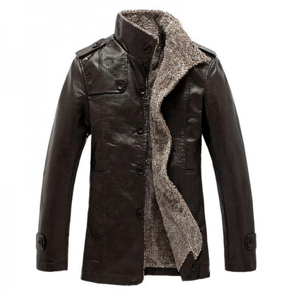 HEE GRAND Men PU  Leather Jackets And Coats New Arrival Winter Thick Casual Jaqueta Masculino Plus Size 2 Colors Extra Image 5