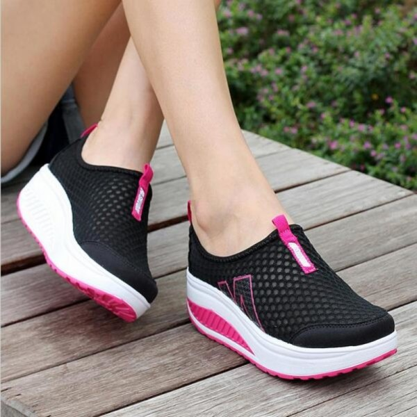 Height Increasing Shoes Womens Casual Shoes Sport Fashion Walking Shoes for Women Swing Wedges Shoes Breathable Extra Image 4