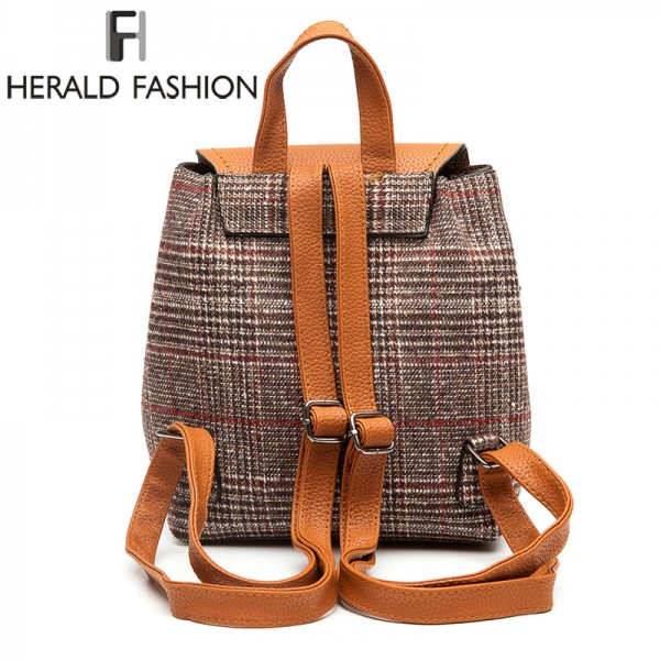 Herald Fashion Female Backpacks Woolen Bags For Teenage Girls Female School Shoulder Bags Traveling Backpacks Mochila Extra Image 4