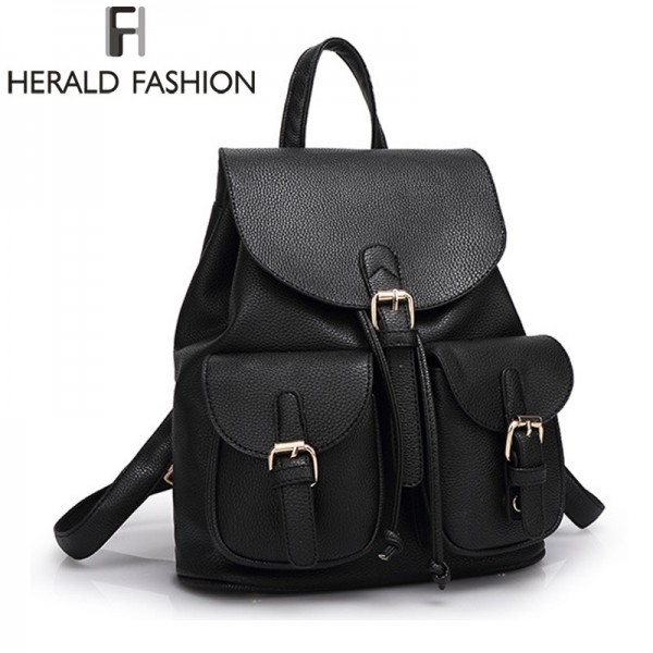 Buy Herald Fashion Vintage Leather Backpacks High Quality School ...