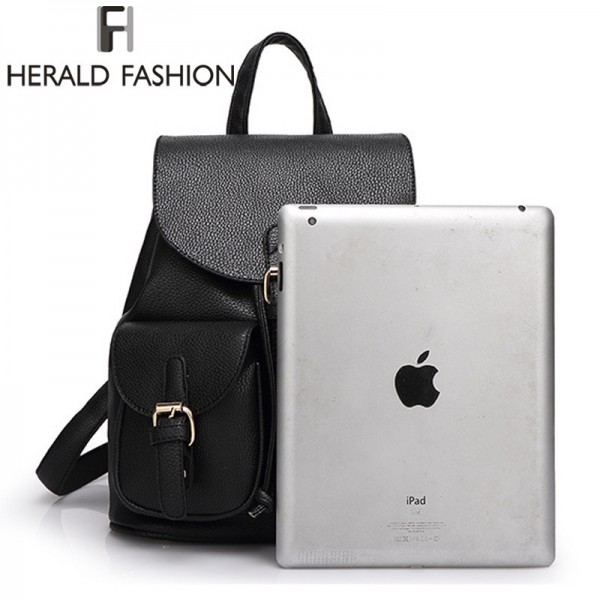 Herald Fashion Vintage Leather Backpacks High Quality School Bags For Teenagers Female Travel Drawstring Bags Extra Image 5