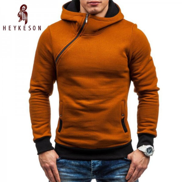 HEYKESON Hoodie Oblique Zipper Solid Color Hoodies Men Fashion Tracksuit Male Sweatshirt Hoody Mens Purpose Tour Extra Image 1