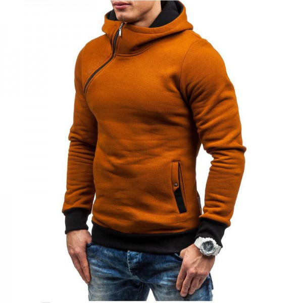 HEYKESON Hoodie Oblique Zipper Solid Color Hoodies Men Fashion Tracksuit Male Sweatshirt Hoody Mens Purpose Tour Extra Image 3