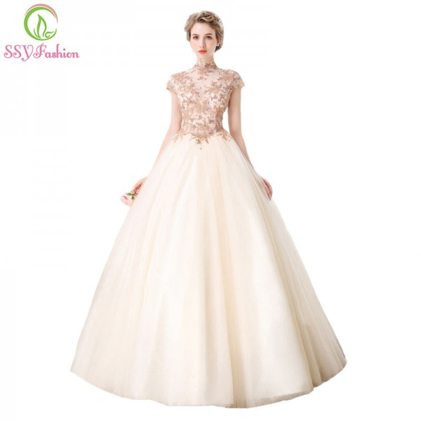 High End Banquet Elegant  Champagne Lace Prom Dress High Neck A Line Floor Length Beading Formal Party Gown Extra Image 1