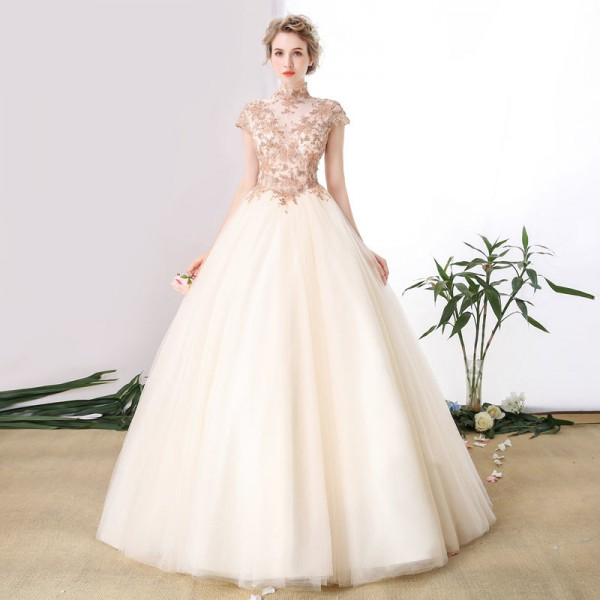 High End Banquet Elegant  Champagne Lace Prom Dress High Neck A Line Floor Length Beading Formal Party Gown