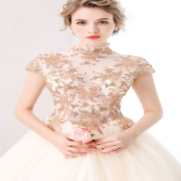 High End Banquet Elegant  Champagne Lace Prom Dress High Neck A Line Floor Length Beading Formal Party Gown Extra Image 4