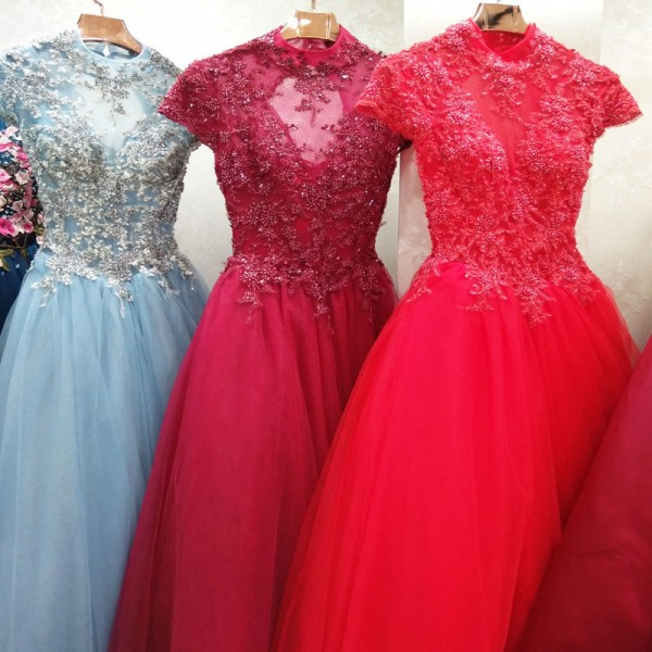 High End Banquet Elegant  Champagne Lace Prom Dress High Neck A Line Floor Length Beading Formal Party Gown Extra Image 6