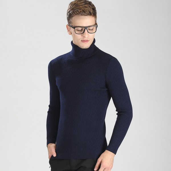 High Grade New Autumn Winter Youth Fashion Turtleneck Sweater Men Knitted Sweater High Elastic Sweaters And Pullovers Extra Image 5